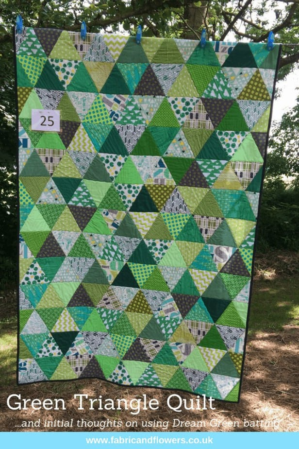 Green Triangle Quilt and Dream Green Wadding by fabricandflowers   Sonia Spence