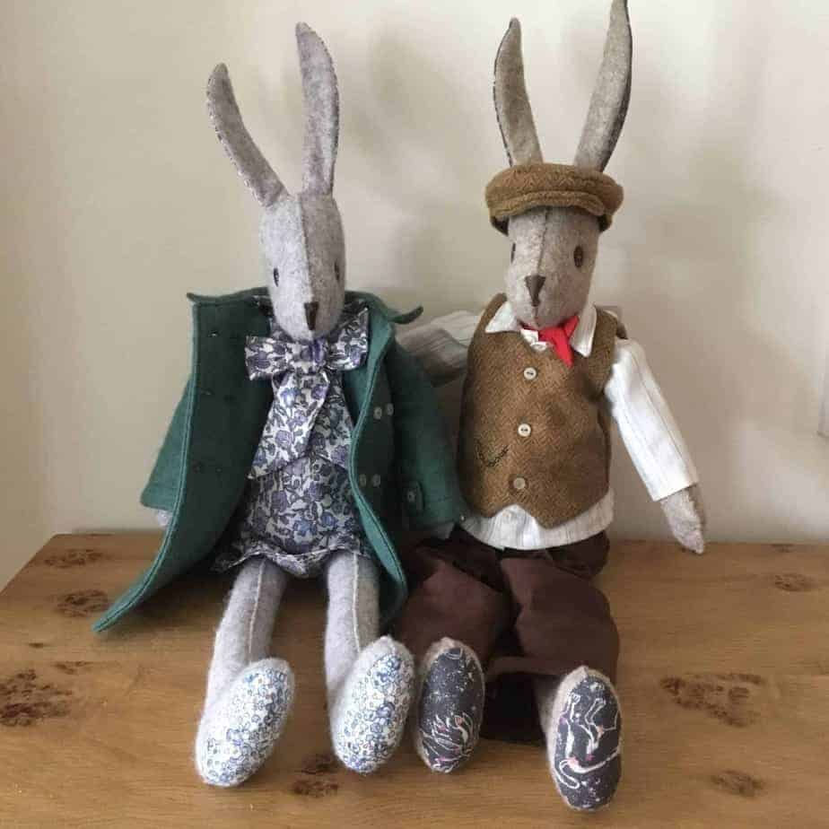 Luna Rabbit and Alfie Rabbit by fabricandflowers | Sonia Spence