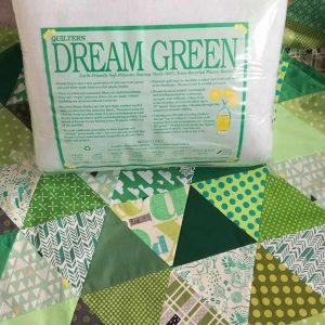 Green Triangle Quilt and initial thought of Dream Green batting