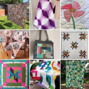Collage of quilt projects by fabricandflowers