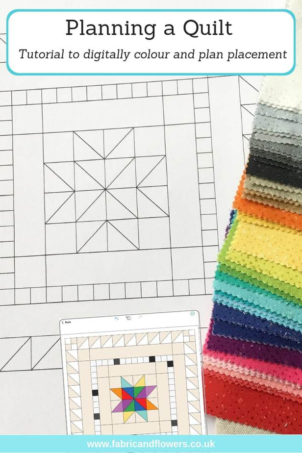 How to plan a quilt colour scheme using a digital colouring app with tutorial for the Mini Charm Medallion by fabricandflowers