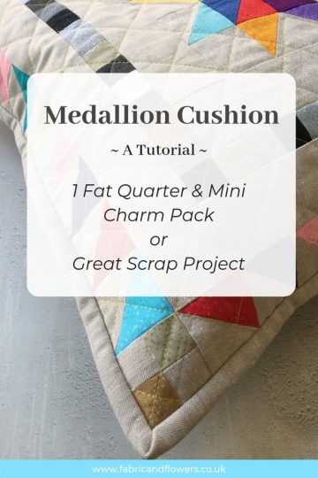 Mini Charm Medallion Patchwork Cushion tutorial