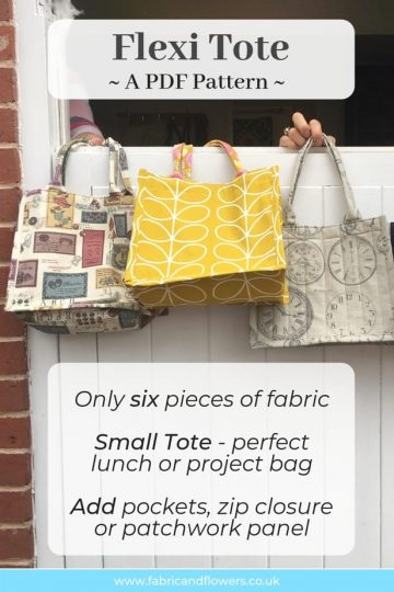 PDF Sewing Pattern for DIY Small Tote. Add pockets or make with patchwork to make it your own. The Flexi Tote!