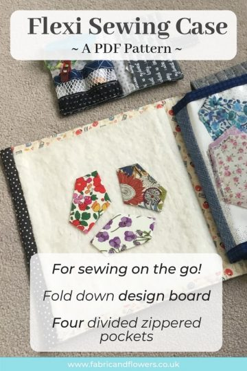 The Flexi Sewing Case and Kit patterns are designed for quilting and sewing on the go with a built-in design board and zippered pockets for organising.
