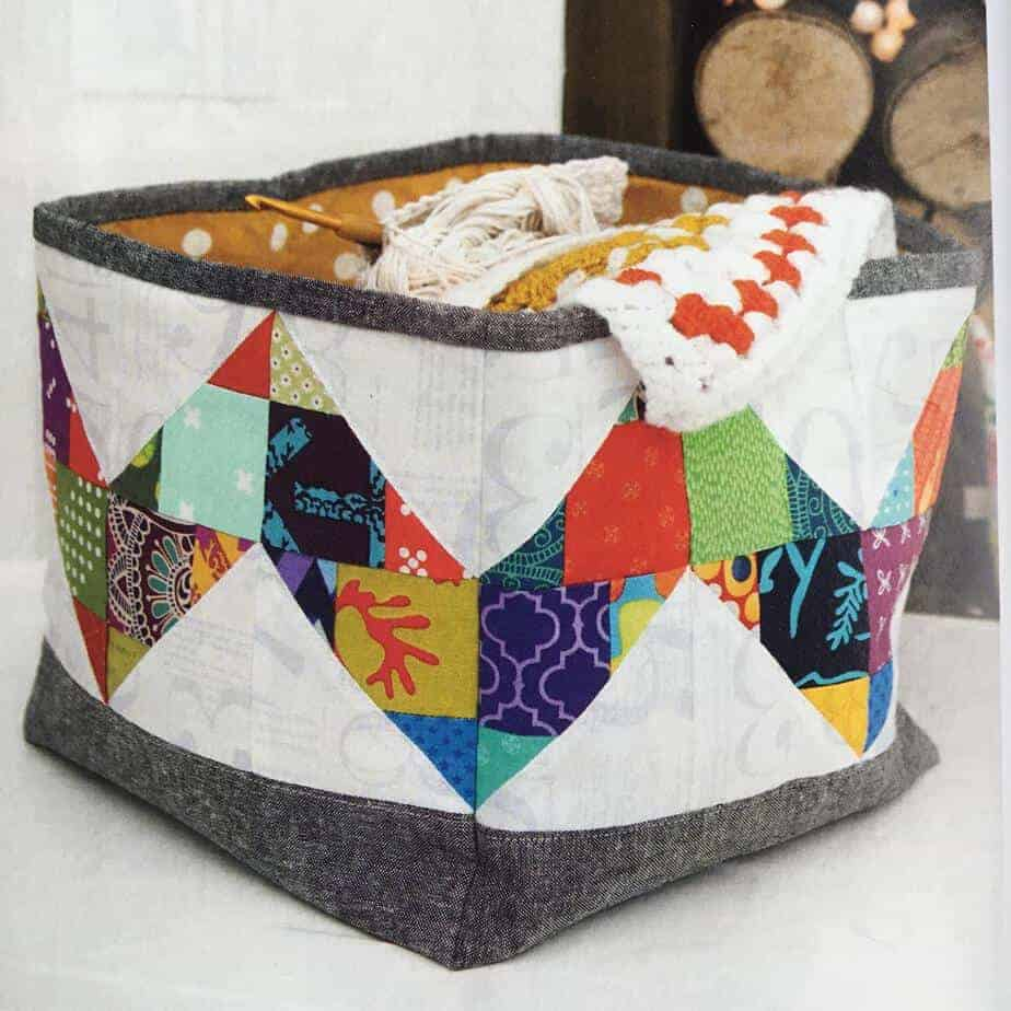 Bright Stars Quilt and Storage basket pattern, excellent for using scraps