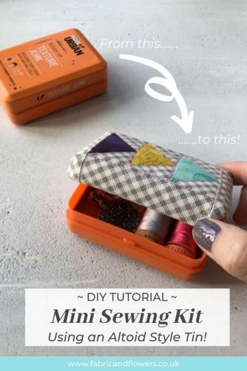 DIY craft tutorial for how to upcycle a tin, similar to an Altoids Mint box, into a mini travel sewing kit. Ideal make for Christmas, Birthday or Swap gift.
