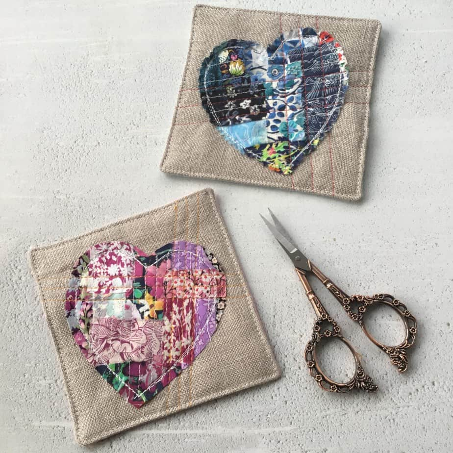 Tutorial for making a Boro Patchwork coaster using scrap fabrics.