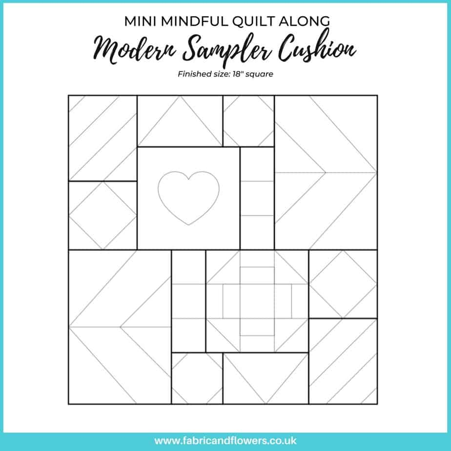 A mindful sewing project for a Modern Sampler Cushion. The project is designed to be worked on over two weeks, sewing for just 15minutes a day.