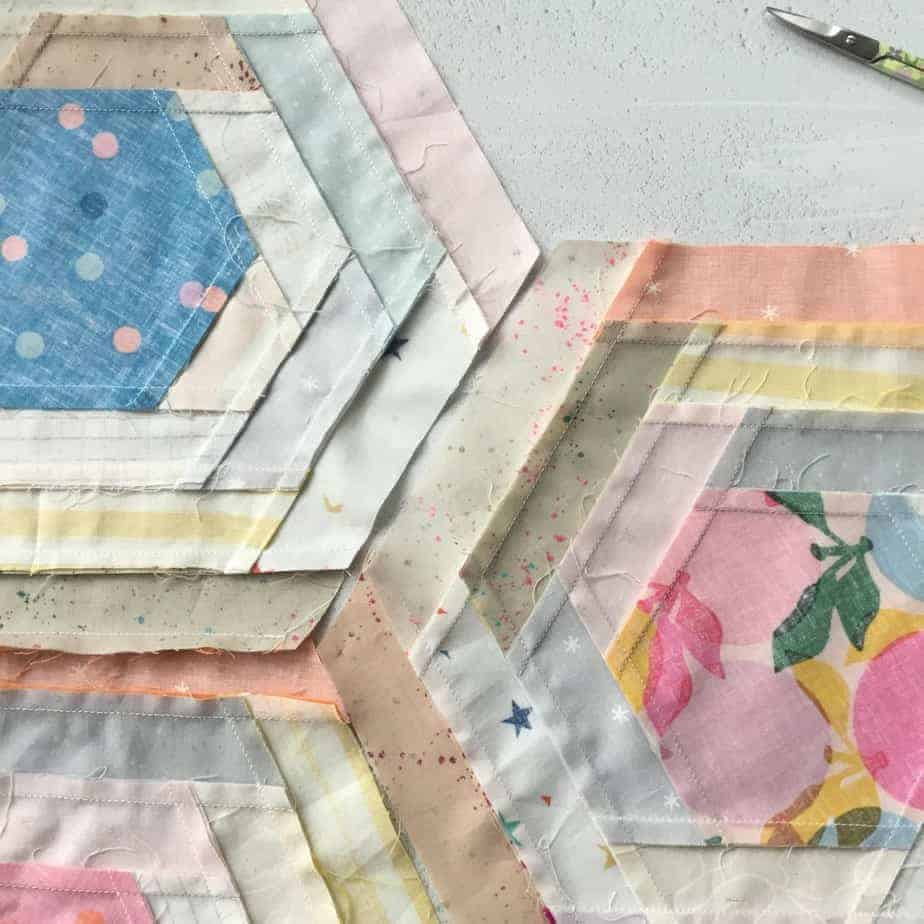 Candy Crush - a Log Cabin Hexie Quilt for Love Patchwork & Quilting, Issue 86. Sewing Y-Seams