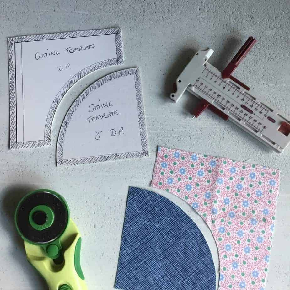 Drunkards Path block - how to make templates of any size for hand and machine piecing